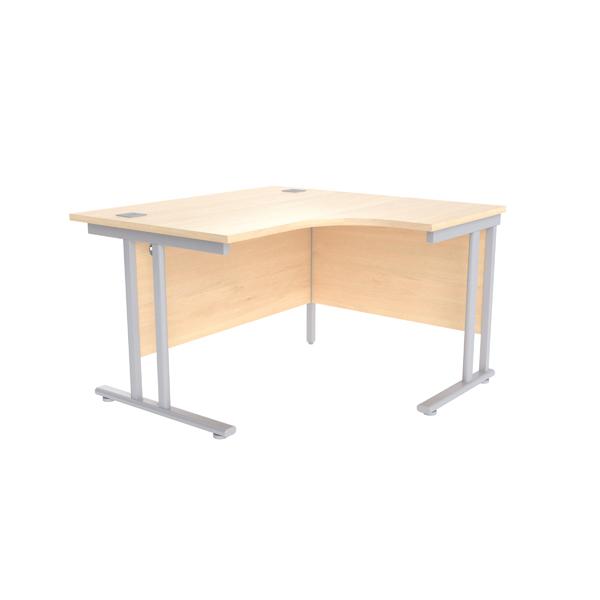 Jemini Maple/Silver 1200mm Right Hand Radial Cantilever Desk