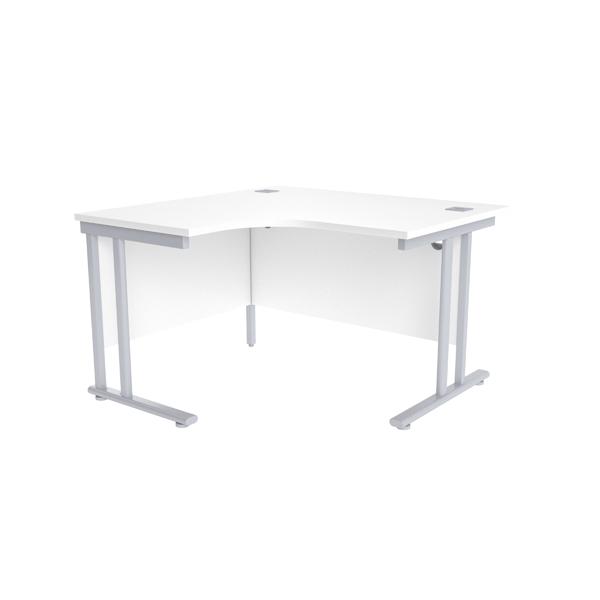 Jemini White/Silver 1200mm Left Hand Radial Cantilever Desk