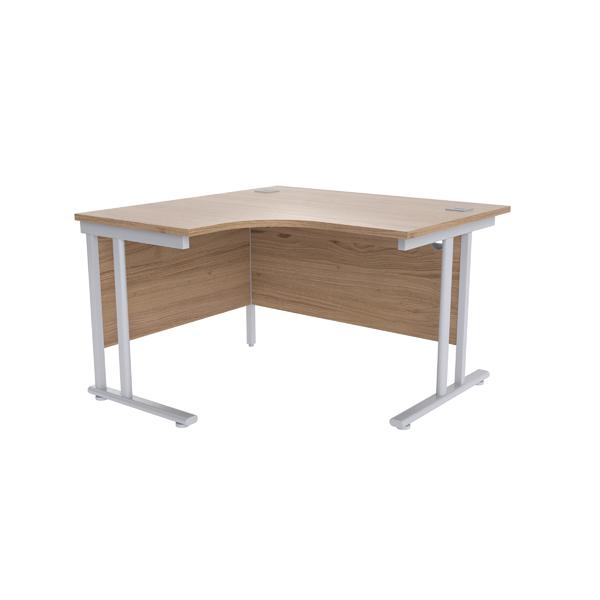 Jemini Grey Oak/Silver 1200mm Left Hand Radial Cantilever Desk