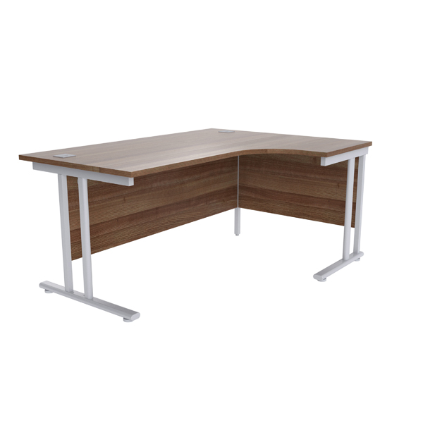 Jemini Walnut/Silver 1600mm Right Hand Radial Cantilever Desk