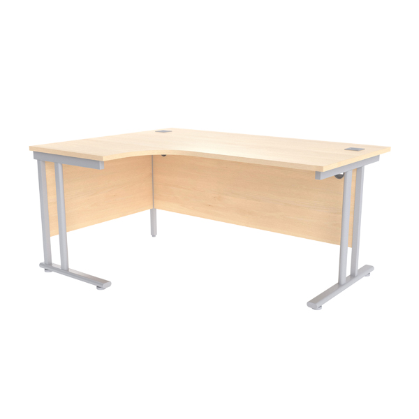 Jemini Maple/Silver 1600mm Left Hand Radial Cantilever Desk
