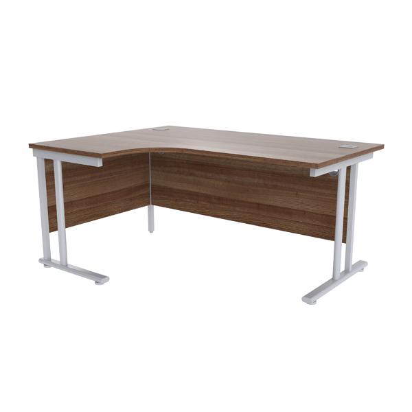 Jemini Walnut/Silver 1600mm Left Hand Radial Cantilever Desk