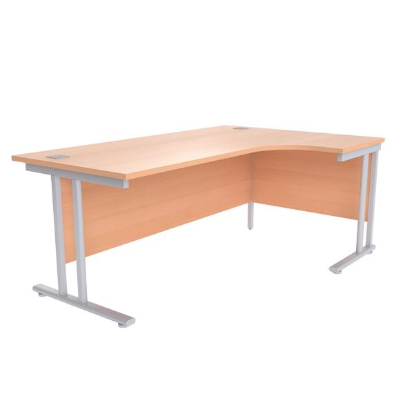 Jemini Beech/Silver 1800mm Right Hand Radial Cantilever Desk