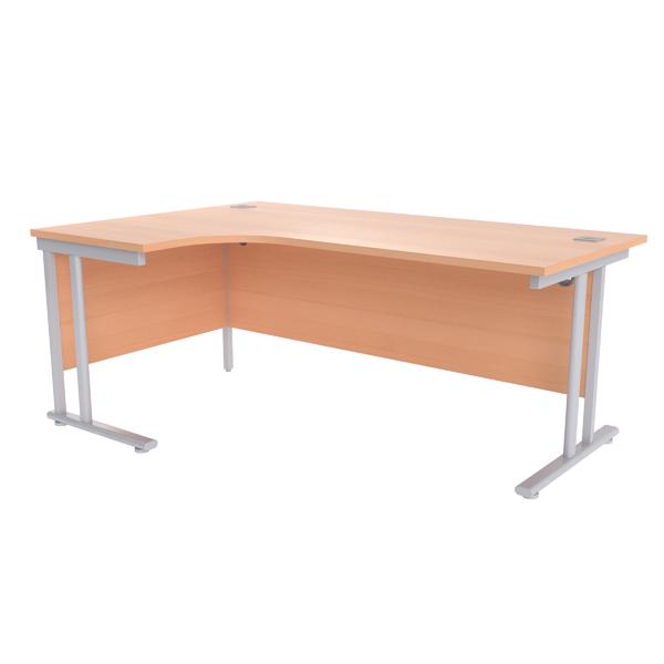 Jemini Beech/Silver 1800mm Left Hand Radial Cantilever Desk
