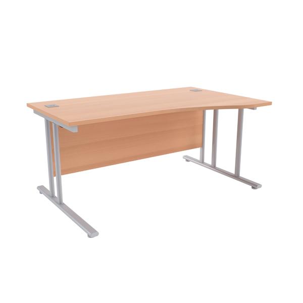 Jemini Beech/Silver 1600mm Right Hand Wave Cantilever Desk