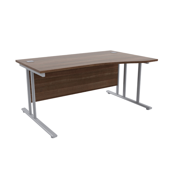 Jemini Walnut/Silver 1600mm Right Hand Wave Cantilever Desk