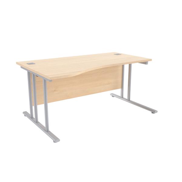 Jemini Maple/Silver 1600mm Left Hand Wave Cantilever Desk