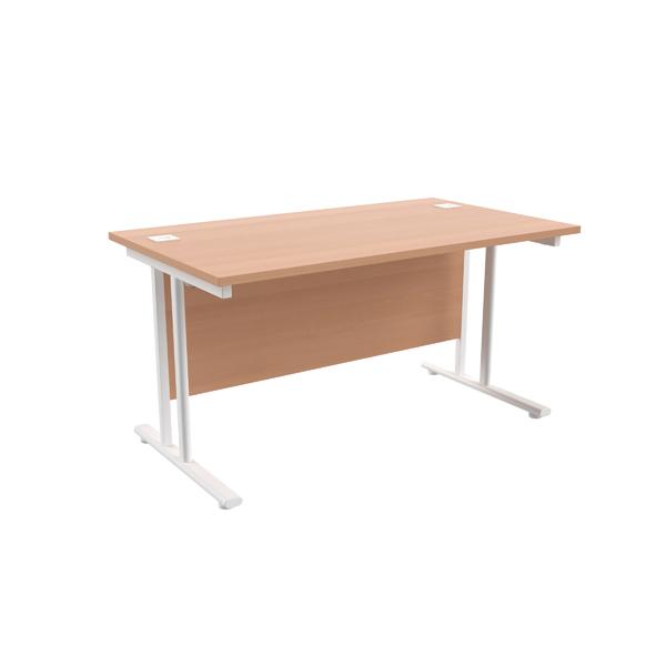 Jemini Beech/White W1400 x D800mm Rectangular Cantilever Desk