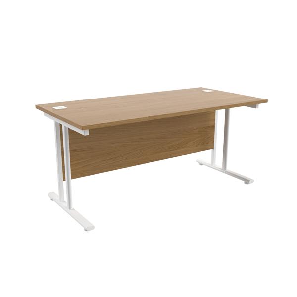 Jemini Oak/White W1600 x D800mm Rectangular Cantilever Desk