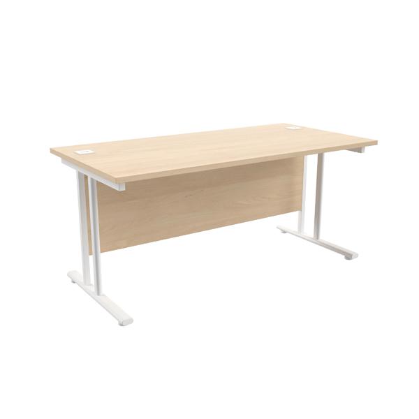 Jemini Maple/White W1600 x D800mm Rectangular Cantilever Desk