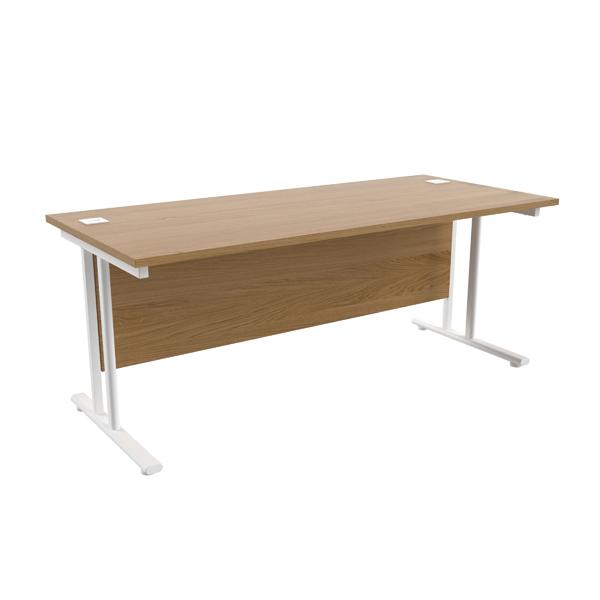 Jemini Oak/White W1800 x D800mm Rectangular Cantilever Desk
