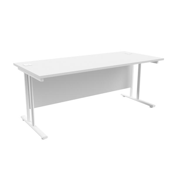 Jemini White/White W1800 x D800mm Rectangular Cantilever Desk