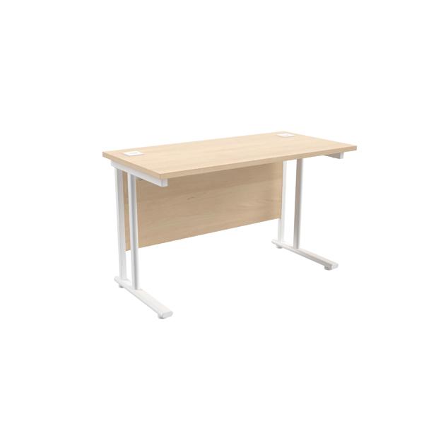 Jemini Maple/White W1200 x D600mm Rectangular Cantilever Desk