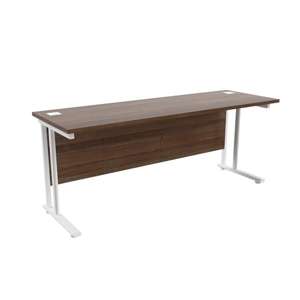 Jemini Walnut/White W1800 x D600mm Rectangular Cantilever Desk