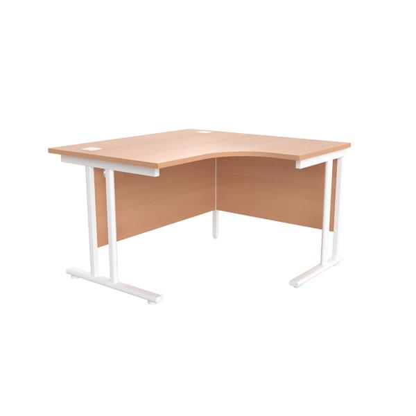 Jemini Beech/White 1200mm Right Hand Radial Cantilever Desk