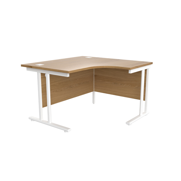 Jemini Oak/White 1200mm Right Hand Radial Cantilever Desk