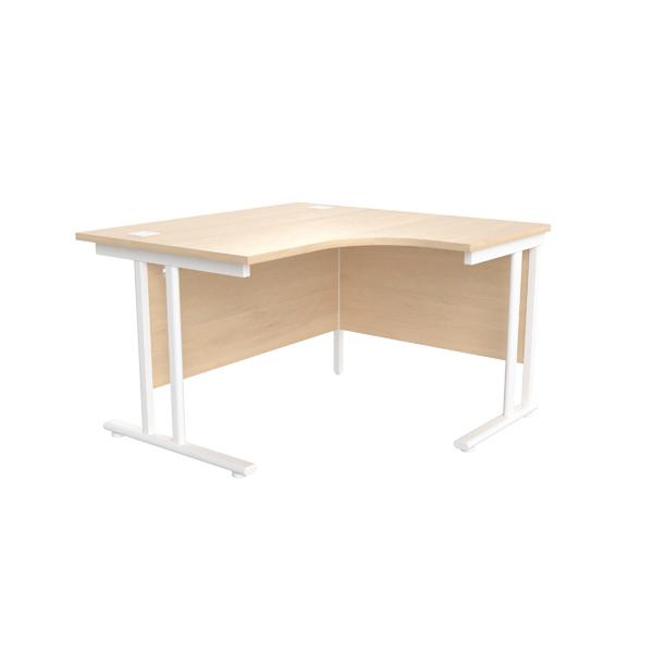 Jemini Maple/White 1200mm Right Hand Radial Cantilever Desk