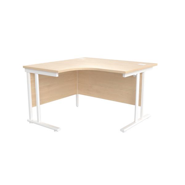 Jemini Maple/White 1200mm Left Hand Radial Cantilever Desk