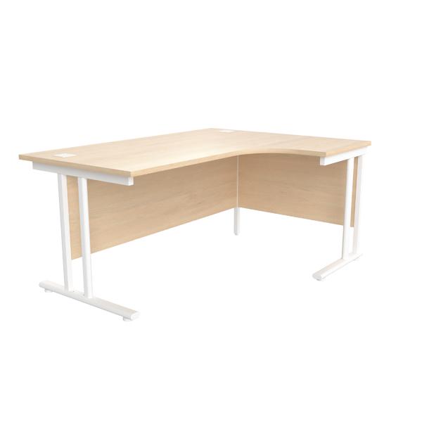 Jemini Maple/White 1600mm Right Hand Radial Cantilever Desk