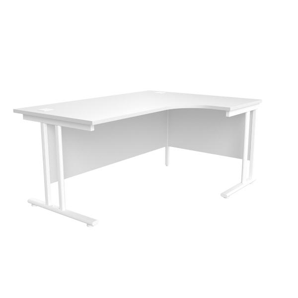 Jemini White/White 1600mm Right Hand Radial Cantilever Desk