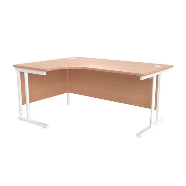 Jemini Beech/White 1600mm Left Hand Radial Cantilever Desk