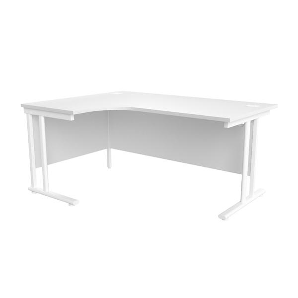 Jemini White/White 1600mm Left Hand Radial Cantilever Desk