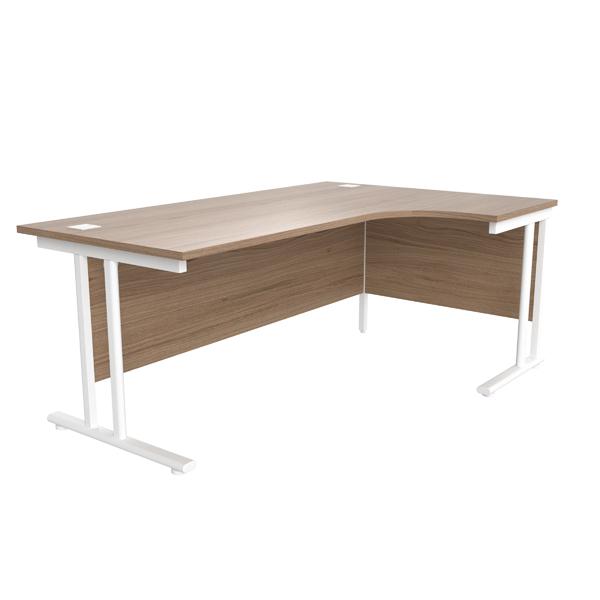 Jemini Grey Oak/White 1800mm Right Hand Radial Cantilever Desk