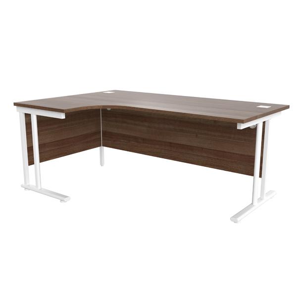 Jemini Walnut/White 1800mm Left Hand Radial Cantilever Desk