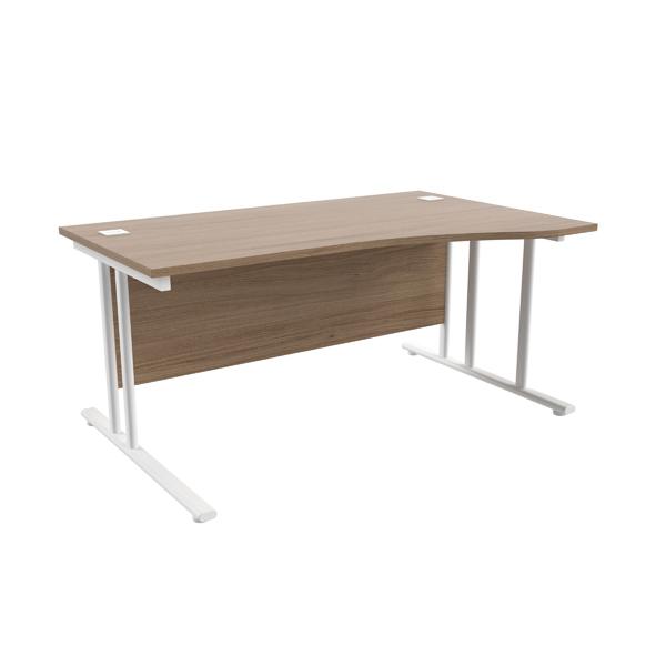 Jemini Grey Oak/White 1600mm Right Hand Wave Cantilever Desk