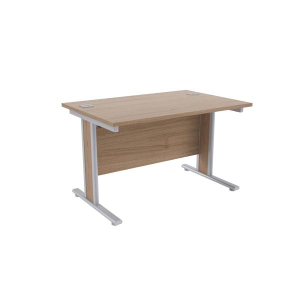 Jemini Grey Oak/Silver 1200x800mm Rectangular Desk