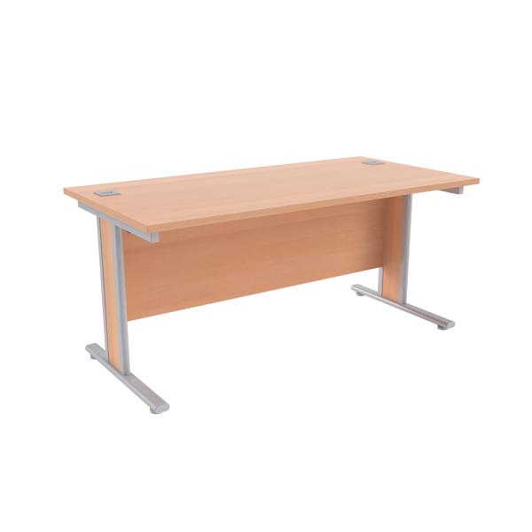 Jemini Beech/Silver 1600x800mm Rectangular Desk