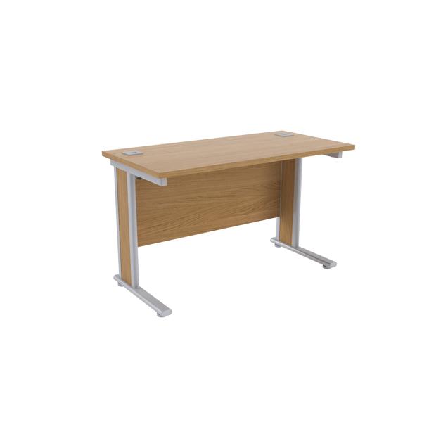 Jemini Oak/Silver 1200x600mm Rectangular Desk