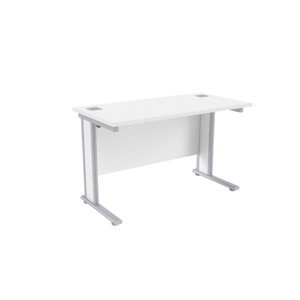 Jemini White/Silver 1200x600mm Rectangular Desk