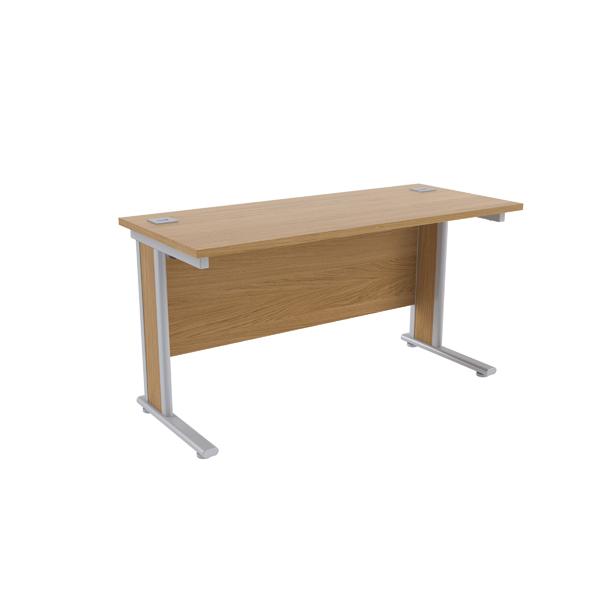 Jemini Oak/Silver 1400x600mm Rectangular Desk