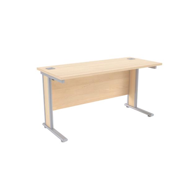 Jemini Maple/Silver 1400x600mm Rectangular Desk