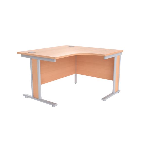 Jemini Beech/Silver 1200mm Right Hand Radial Desk