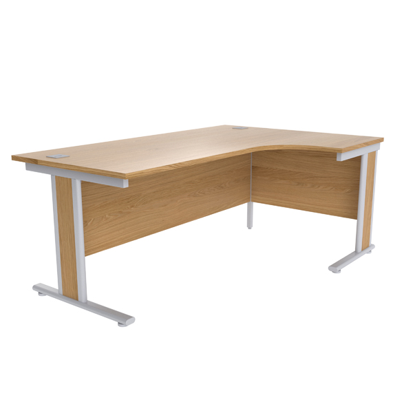 Jemini Oak/Silver 1800mm Right Hand Radial Desk