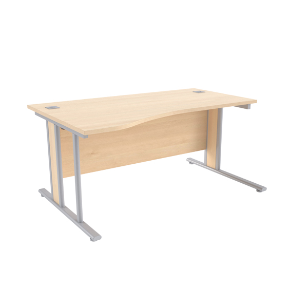 Jemini Maple/Silver 1600mm Left Hand Wave Desk