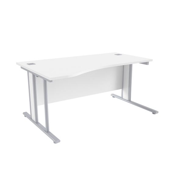 Jemini White/Silver1600mm Left Hand Wave Desk