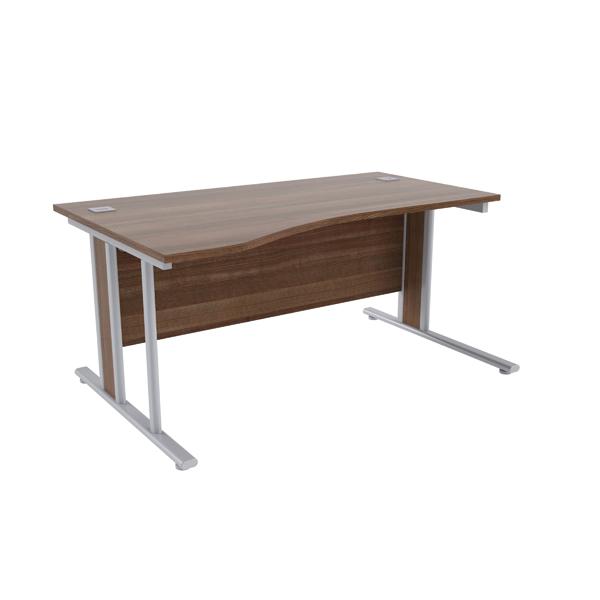 Jemini Walnut/Silver 1600mm Left Hand Wave Desk