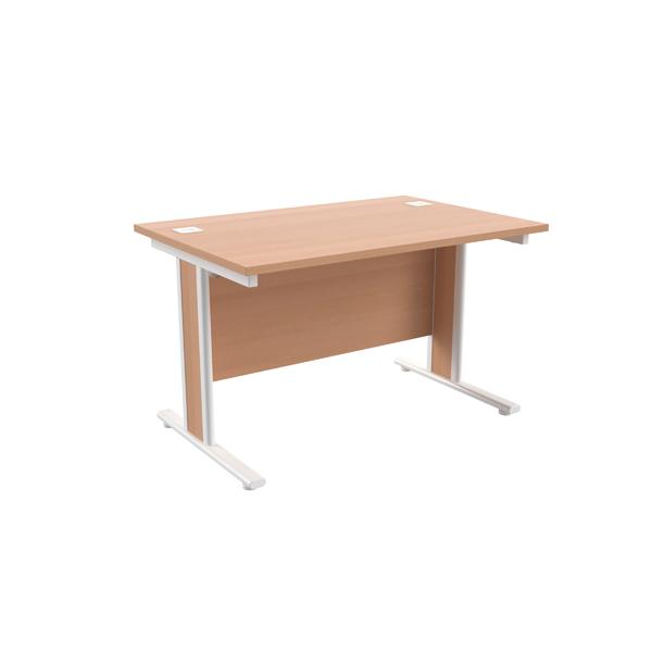 Jemini Beech/White 1200x800mm Rectangular Cantilever Desk