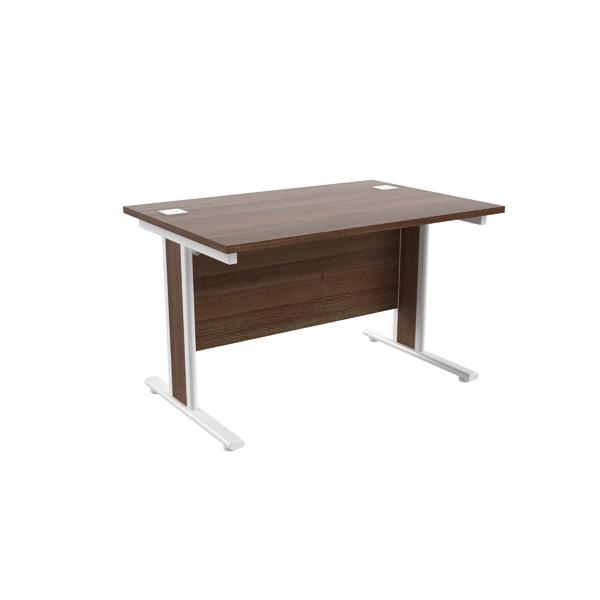 Jemini Walnut/White 1200x800mm Rectangular Cantilever Desk