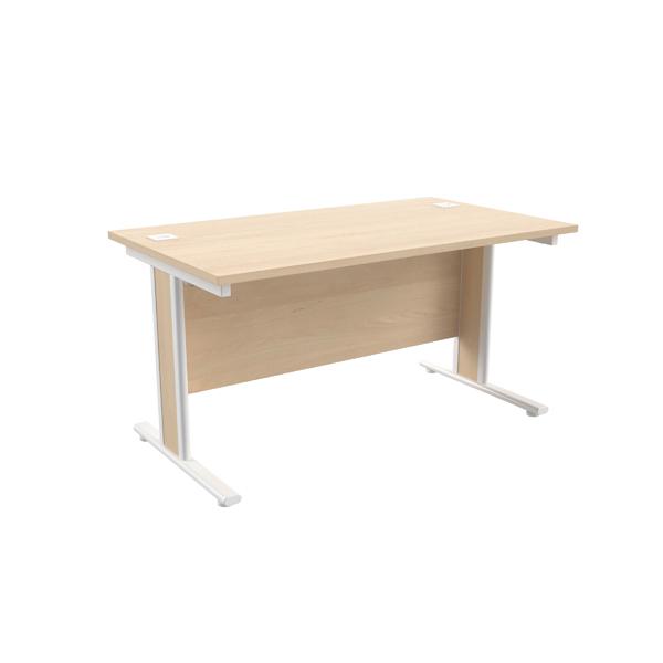 Jemini Maple/White 1400x800mm Rectangular Cantilever Desk