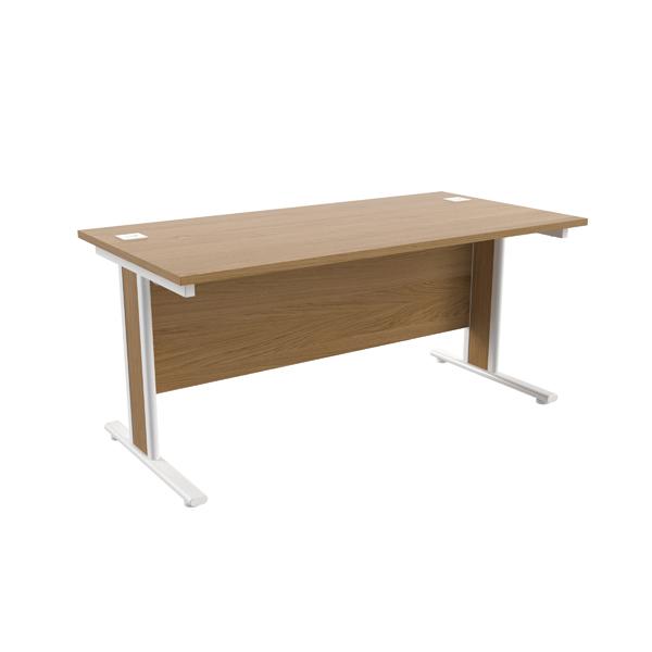 Jemini Oak/White 1600x800mm Rectangular Cantilever Desk