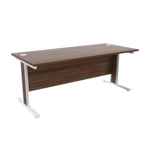 Jemini Walnut/White 1800x800mm Rectangular Cantilever Desk