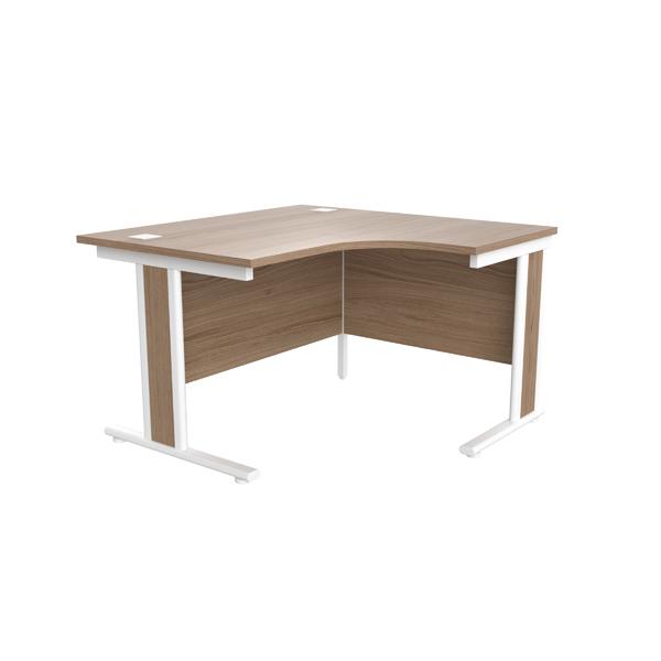 Jemini Grey Oak/White 1200mm Right Hand Radial Cantilever Desk
