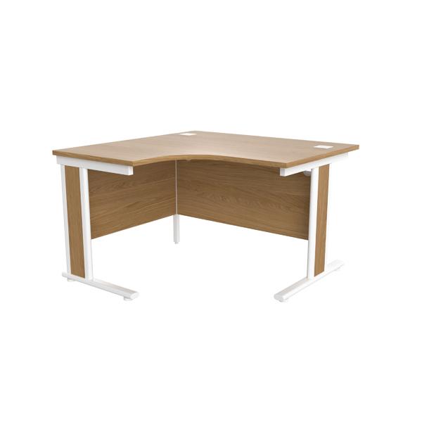 Jemini Oak/White 1200mm Left Hand Radial Cantilever Desk