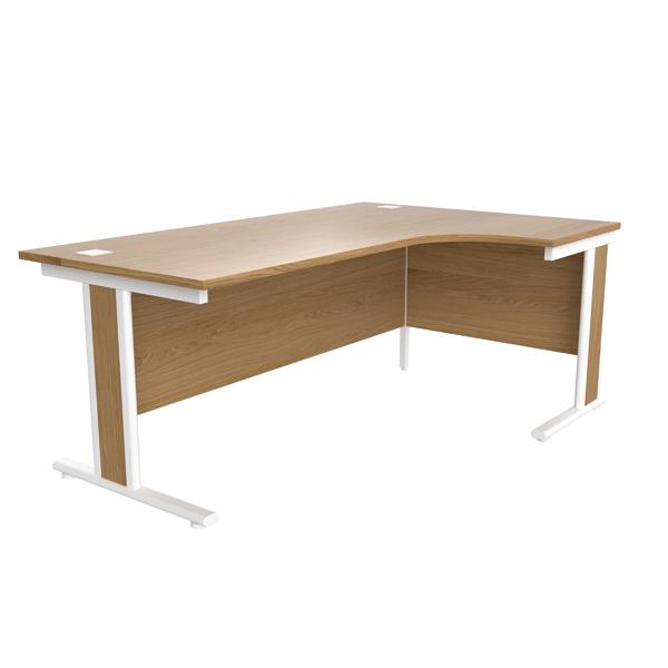 Jemini Oak/White 1800mm Right Hand Radial Cantilever Desk