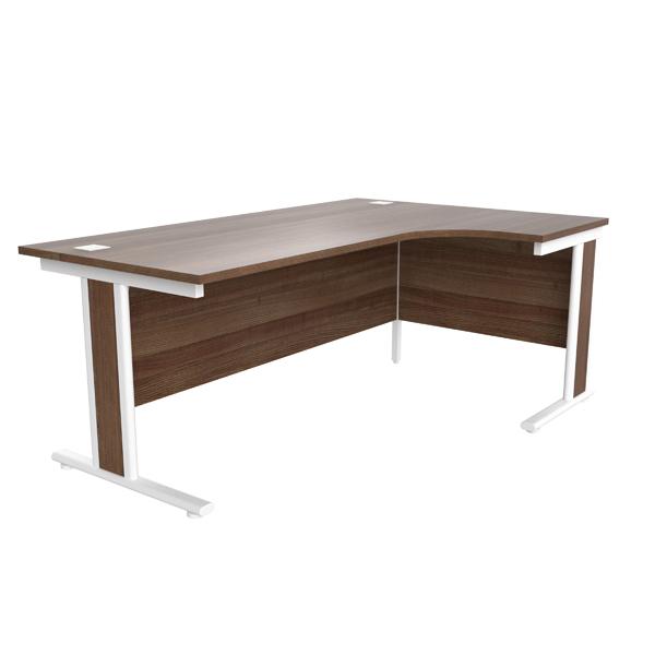 Jemini Walnut/White 1800mm Right Hand Radial Cantilever Desk