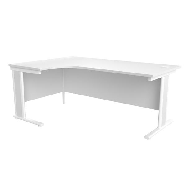 Jemini White/White 1800mm Left Hand Radial Cantilever Desk